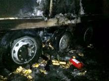 На автотрассе М-7 загорелся грузовик, перевозивший баночное пиво
