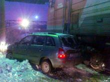 В Нижнекамском районе тепловоз столкнулся с автомобилем 'Лада Калина'