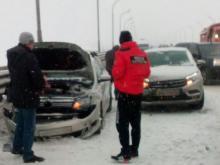 В Татарстане на мосту через Каму произошло сразу 7 ДТП с 14 автомобилями