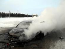 На автотрассе М-7 в загоревшемся автомобиле 'Лада Калина' погиб житель Мамадышского района